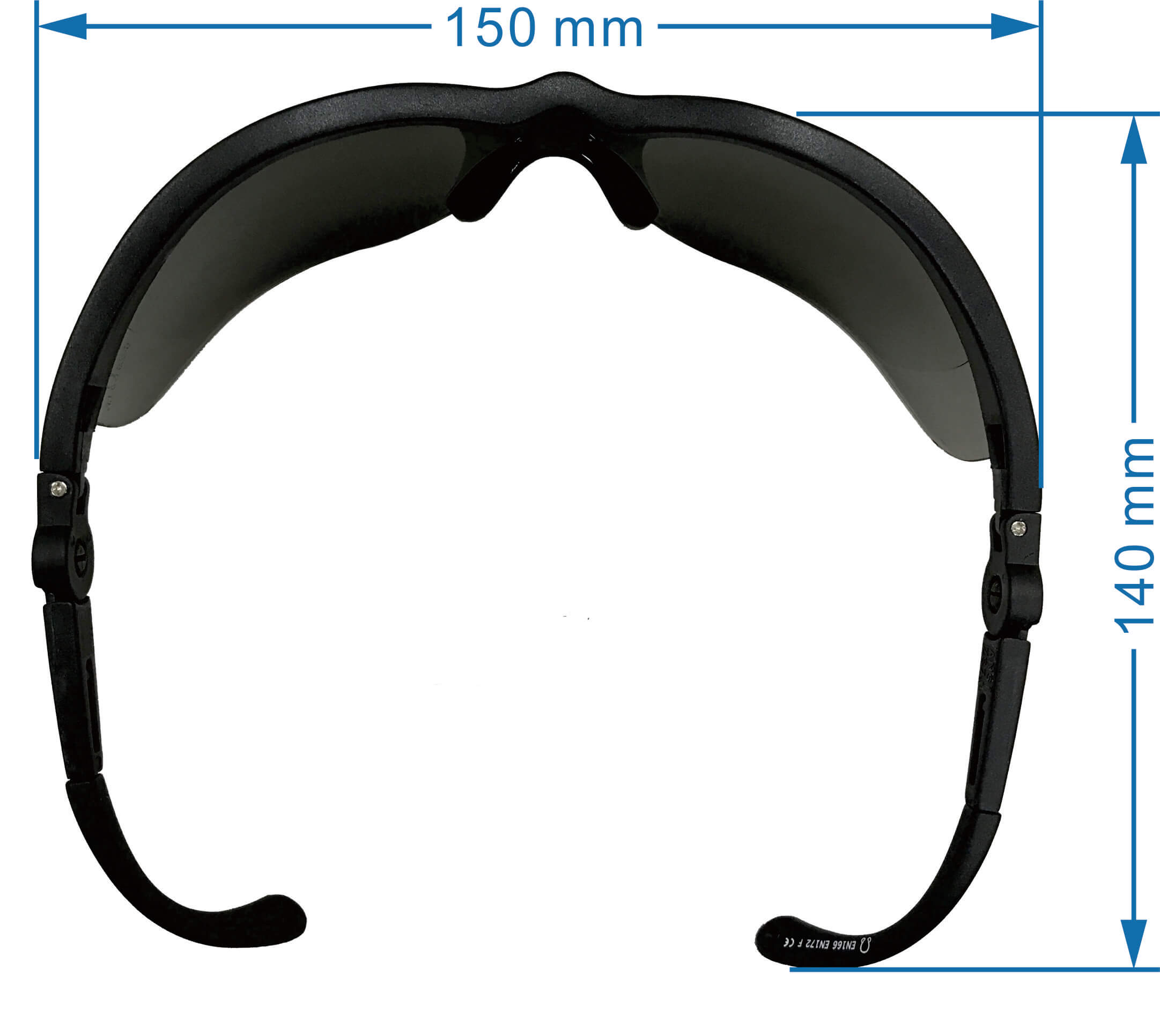 Adjustable arm safety glasses SS-2598 Top View